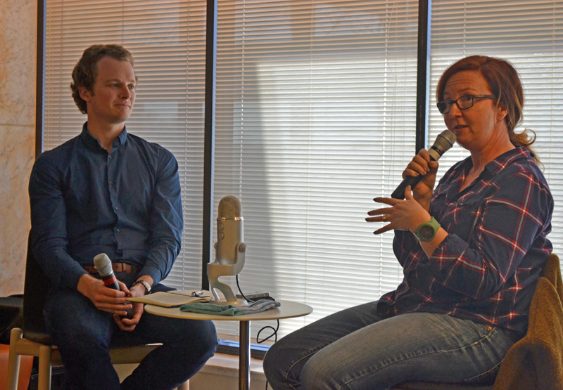 Katharine Murphy interviewed for the Penmanship podcast by Andrew McMillen at Canberra Writers Festival, August 2017. Photo credit: Stuart McMillen